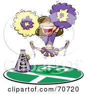 Royalty Free RF Clipart Illustration Of A Brunette Cheerleader In A Purple And Yellow Uniform Leaping And Cheering