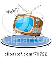 Royalty Free RF Clipart Illustration Of A Bouncing Box Television On A Blue Rug