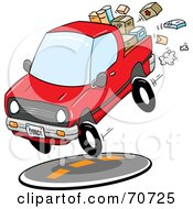 Royalty Free RF Clipart Illustration Of A Red Quick Delivery Truck With Boxes In The Bed