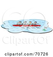 Royalty Free RF Clipart Illustration Of A Rowing Team Passing A Finish Mark