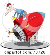 Royalty Free RF Clipart Illustration Of A Man Sitting On Top Of A Rocket With A Lit Fuse