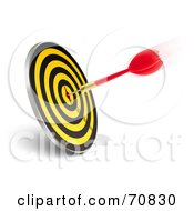 Royalty Free RF Clipart Illustration Of A Red And Gold Dart On A Yellow And Black Dartboard Target