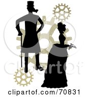 Royalty Free RF Clipart Illustration Of A Silhouetted Steampunk Couple With Gears On White by mheld