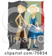 Royalty Free RF Clipart Illustration Of A Detective Couple With Grunge Marks by mheld