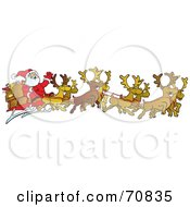 Royalty Free RF Clipart Illustration Of A Team Of Eight Reindeer Flying Santa In His Sleigh by Snowy #COLLC70835-0092