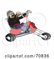 Middle Aged Biker On A Red Custom Motorcycle