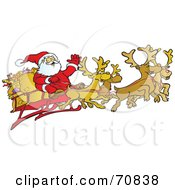 Royalty Free RF Clipart Illustration Of A Team Of Four Reindeer Flying Santa In His Sleigh by Snowy