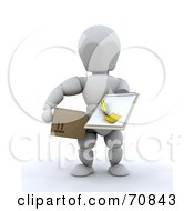 Royalty Free RF Clipart Illustration Of A 3d White Character Delivery Man Holding A Clipboard And A Box by KJ Pargeter