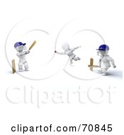 Royalty Free RF Clipart Illustration Of A 3d Cricket Team Playing by KJ Pargeter