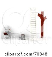 Royalty Free RF Clipart Illustration Of A 3d White Character Painter Looking At Red Lines On A White Wall By A Ladder by KJ Pargeter