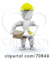 Royalty Free RF Clipart Illustration Of A 3d White Character Holding A Box And Clipboard by KJ Pargeter