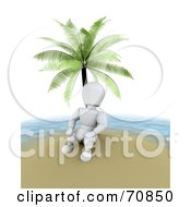 Royalty Free RF Clipart Illustration Of A 3d Alienated White Character Under A Palm Tree On An Island by KJ Pargeter