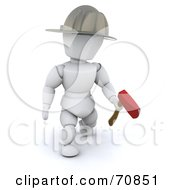 Royalty Free RF Clipart Illustration Of A 3d Fireman White Character With An Axe And Helmet