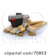 Royalty Free RF Clipart Illustration Of A 3d Power Drill And Tool Box On Wood Planks