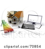 Royalty Free RF Clipart Illustration Of A 3d Computer On Blue Prints With An Energy Rating Graph And House by KJ Pargeter