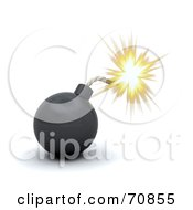 Royalty Free RF Clipart Illustration Of A 3d Shiny Black Bomb With A Sparking Fuse
