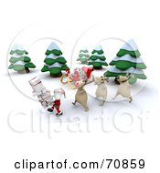 Royalty Free RF Clipart Illustration Of A 3d Santa And Reindeer With A Sleigh And Gifts In The Snow