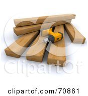 Royalty Free RF Clipart Illustration Of A 3d Power Drill On Wood Planks