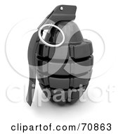 Royalty Free RF Clipart Illustration Of A 3d Shiny Black Hand Grenade by KJ Pargeter