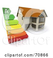 Royalty Free RF Clipart Illustration Of A 3d Home With An Energy Rating Graph by KJ Pargeter