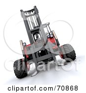 Royalty Free RF Clipart Illustration Of A 3d Red And Black Forklift