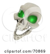 Royalty Free RF Clipart Illustration Of A 3d Laughing Green Eyed Skull by KJ Pargeter