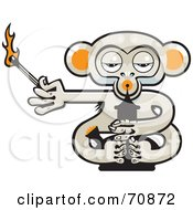 Royalty Free RF Clipart Illustration Of A Pot Monkey With A Lit Match And A Bong by Steve Klinkel