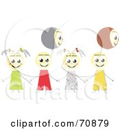 Royalty Free RF Clipart Illustration Of A Group Of Happy Children Holding Hands With Two Face Balloons by MacX