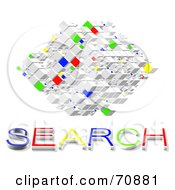 Royalty Free RF Clipart Illustration Of A Colorful Square Of Cubes With SEARCH Text by MacX