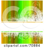 Royalty Free RF Clipart Illustration Of A Background Of Vertical Autumn Colors With A White Text Box And Grunge Vines