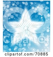White Shining Star With Sparkles On Blue