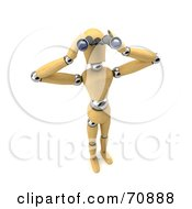 Royalty Free RF Clipart Illustration Of A 3d Wooden Mannequin Spying Through Binoculars Version 2