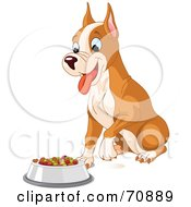 Royalty Free RF Clipart Illustration Of A Cute Boxer Puppy Sitting In Front Of His Food Dish by Pushkin