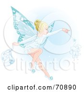 Beautiful Blond Fairy With Blue Wings Making A Magical Tooth