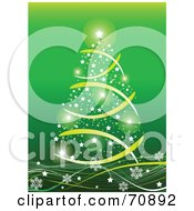 Royalty Free RF Clipart Illustration Of A Green Christmas Background With A Star Tree On Snowflake Waves by Pushkin