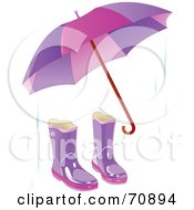 Purple Umbrella With A Pair Of Boots And Rain