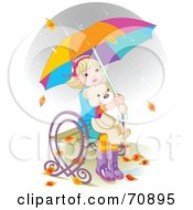 Royalty Free RF Clipart Illustration Of Autumn Leaves And Rain Falling Around A Little Girl Hugging Her Teddy Bear And Sitting On A Bench Under An Umbrella by Pushkin