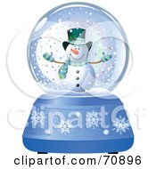 Royalty Free RF Clipart Illustration Of A Blue Christmas Snow Globe With A Snowman by Pushkin