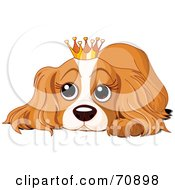 Royalty Free RF Clipart Illustration Of A Spoiled Cocker Spaniel Puppy Wearing A Crown by Pushkin