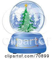 Royalty Free RF Clipart Illustration Of A Blue Christmas Snow Globe With A Tree And Text Box by Pushkin