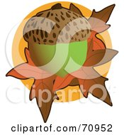 Royalty Free RF Clipart Illustration Of A Green Acorn Over Orange Fall Leaves Over A Circle by Maria Bell
