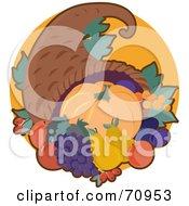 Cornucopia With Autumn Fruits And Veggies
