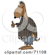 Royalty Free RF Clipart Illustration Of A Brown Scruffy Dog Hitchhiking