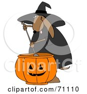 Royalty Free RF Clipart Illustration Of A Brown Halloween Witch Dog With A Pumpkin Cauldron