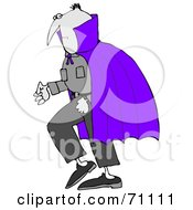Royalty Free RF Clipart Illustration Of A Gray Vampire Wearing A Purple Cape