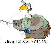 Royalty Free RF Clipart Illustration Of A Bird Wearing A Hat And Vest While Fishing