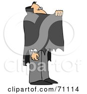 Royalty Free RF Clipart Illustration Of A Vampire Peeking Over A Cape