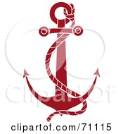Royalty Free RF Clipart Illustration Of A Red Nautical Anchor With A Rope by Pams Clipart