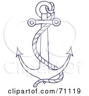 Royalty Free RF Clipart Illustration Of A Blue And White Nautical Anchor With A Rope