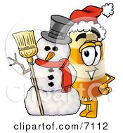 Clipart Picture Of A Barrel Mascot Cartoon Character With A Snowman On Christmas by Toons4Biz